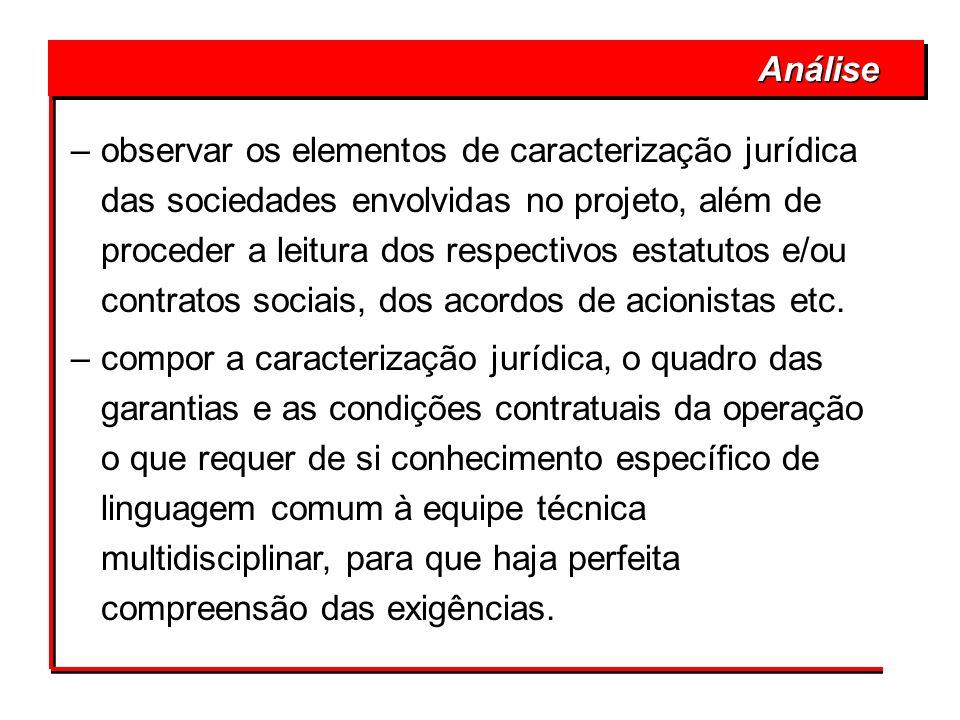 –observar os elementos de caracterização jurídica das sociedades envolvidas no projeto, além de proceder a leitura dos respectivos estatutos e/ou cont