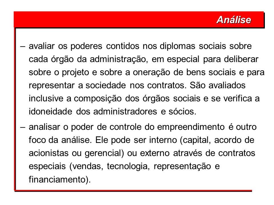 –avaliar os poderes contidos nos diplomas sociais sobre cada órgão da administração, em especial para deliberar sobre o projeto e sobre a oneração de