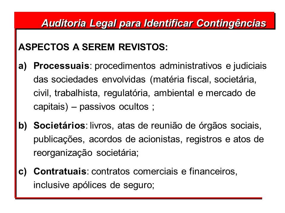 Auditoria Legal para Identificar Contingências ASPECTOS A SEREM REVISTOS: a)Processuais: procedimentos administrativos e judiciais das sociedades envo