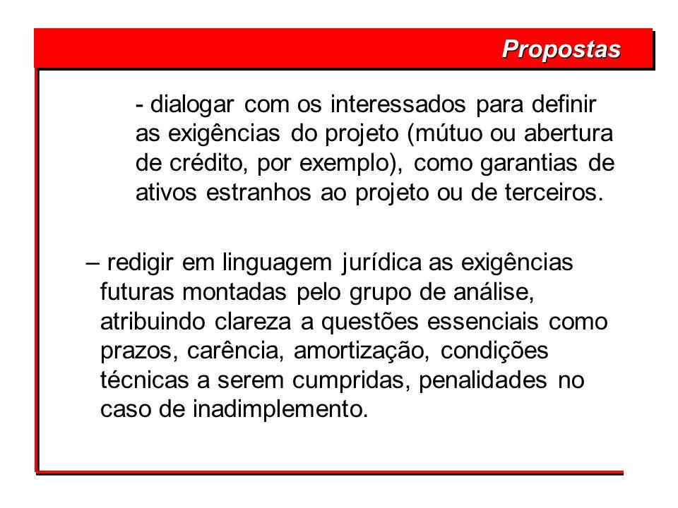 - dialogar com os interessados para definir as exigências do projeto (mútuo ou abertura de crédito, por exemplo), como garantias de ativos estranhos a