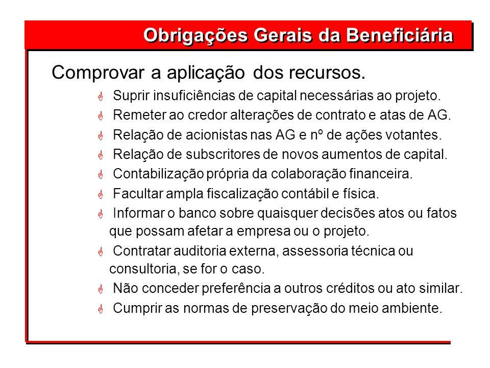 Comprovar a aplicação dos recursos. G Suprir insuficiências de capital necessárias ao projeto. G Remeter ao credor alterações de contrato e atas de AG