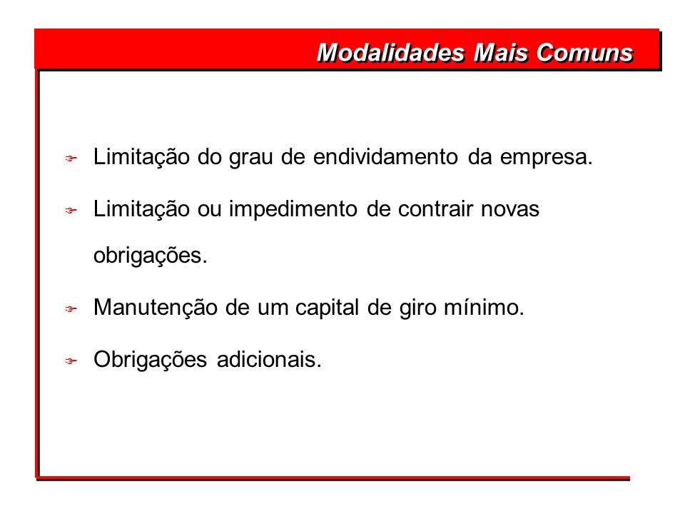 F Limitação do grau de endividamento da empresa. F Limitação ou impedimento de contrair novas obrigações. F Manutenção de um capital de giro mínimo. F