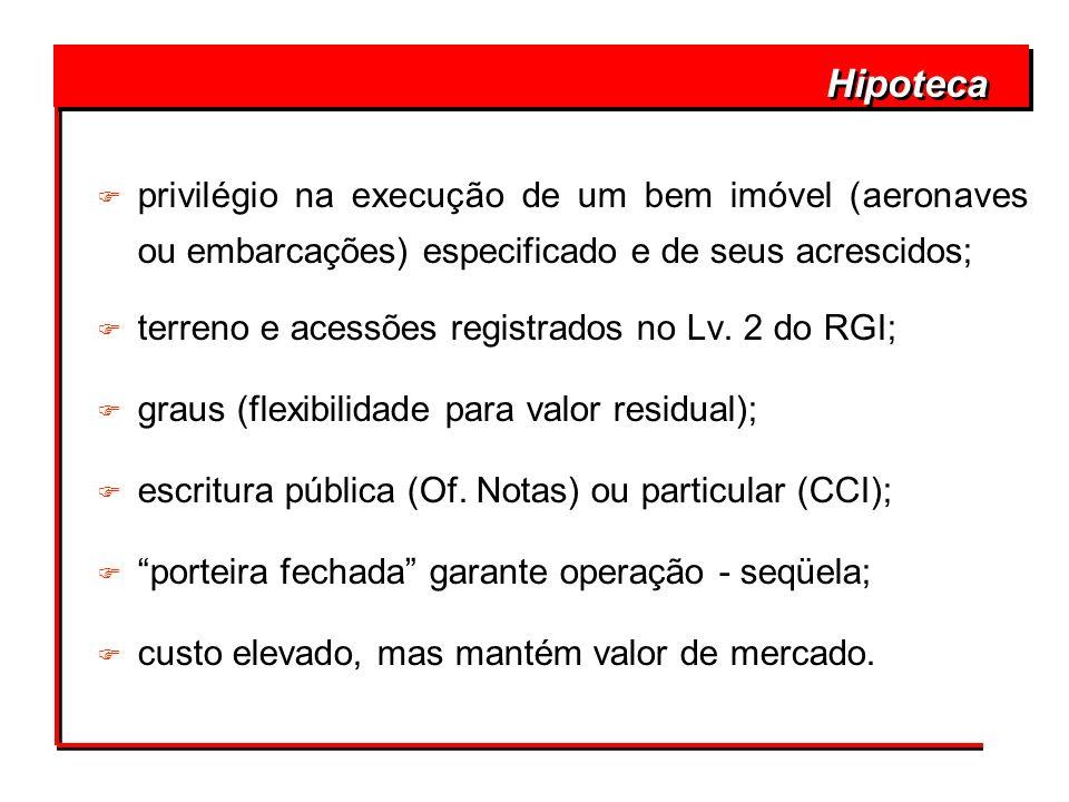 Hipoteca F privilégio na execução de um bem imóvel (aeronaves ou embarcações) especificado e de seus acrescidos; F terreno e acessões registrados no L