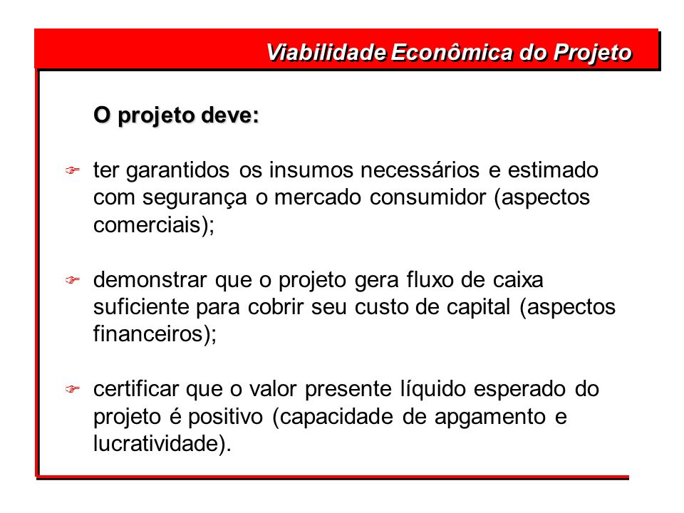 Viabilidade Econômica do Projeto O projeto deve: O projeto deve: F ter garantidos os insumos necessários e estimado com segurança o mercado consumidor