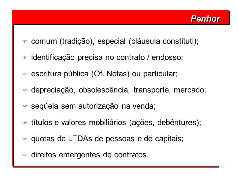 Penhor F comum (tradição), especial (cláusula constituti); F identificação precisa no contrato / endosso; F escritura pública (Of. Notas) ou particula