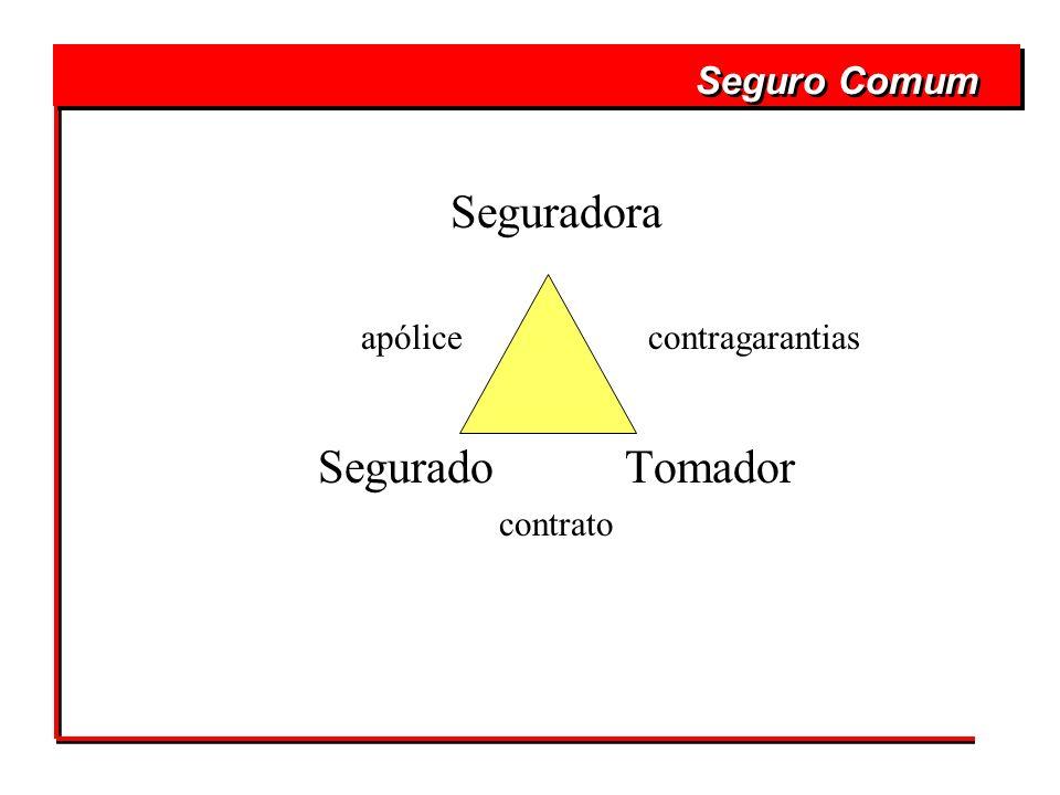 Seguradora apólice contragarantias Segurado Tomador contrato Seguro Comum