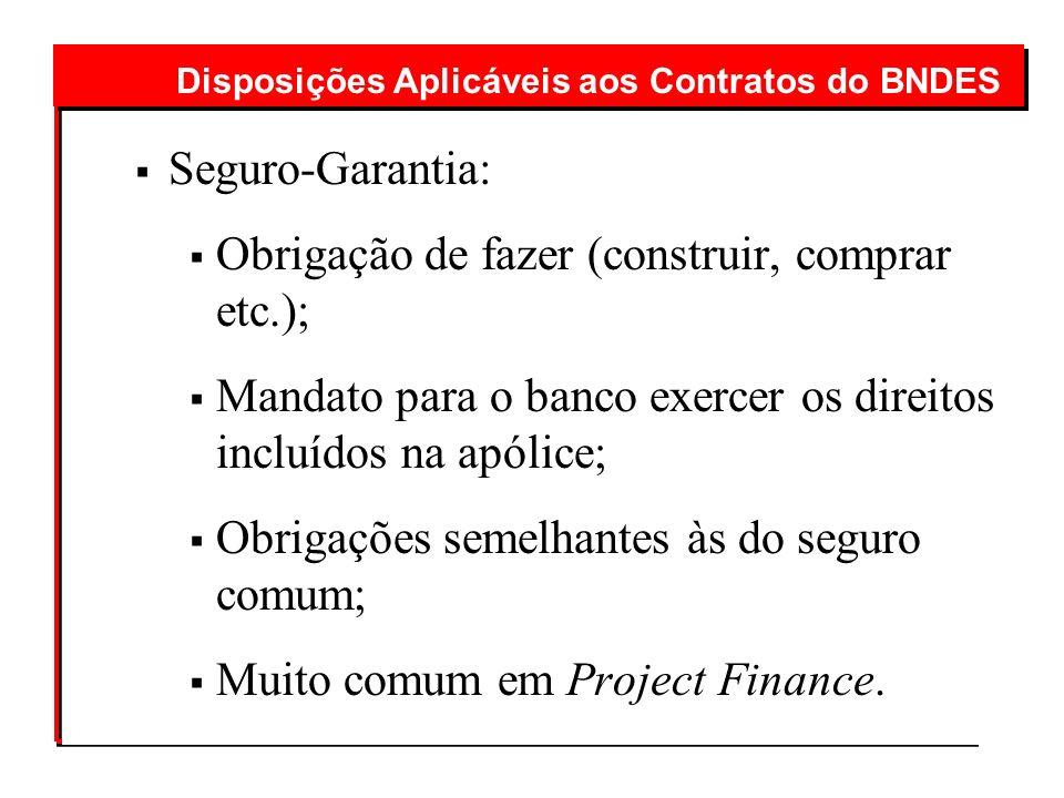 Seguro-Garantia: Obrigação de fazer (construir, comprar etc.); Mandato para o banco exercer os direitos incluídos na apólice; Obrigações semelhantes à