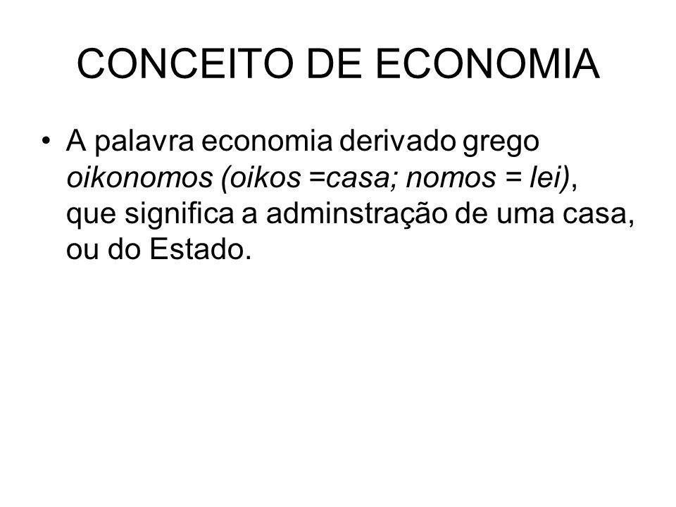 CONCEITO DE ECONOMIA Economia é a ciência social que estuda como o indivíduo e a sociedade decidem (escolhem) empregar recursos produtivos escassos na produção de bens e serviços, de modo a distribuí-los entre várias pessoas e grupos da sociedade, a fim de satisfazer as necessidades humanas.