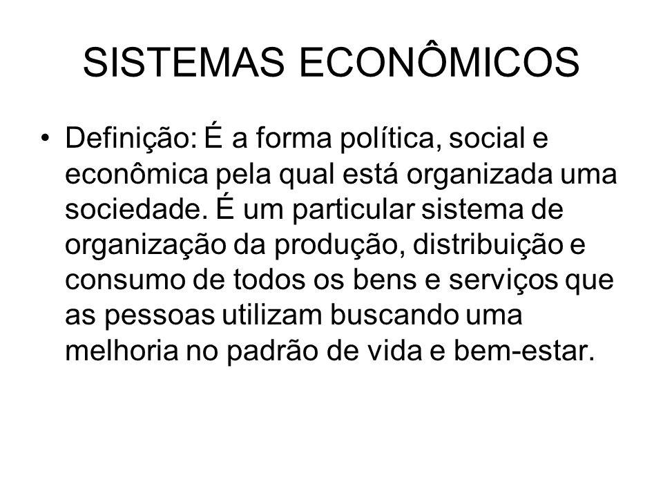 SISTEMAS ECONÔMICOS Definição: É a forma política, social e econômica pela qual está organizada uma sociedade. É um particular sistema de organização