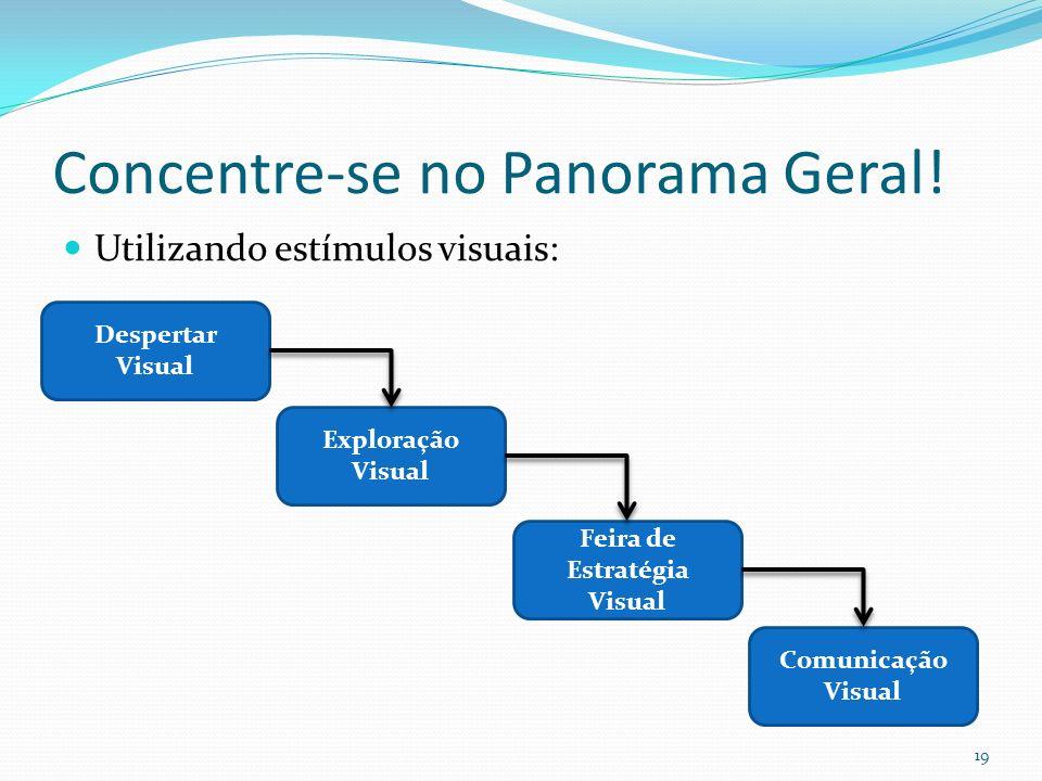 Concentre-se no Panorama Geral! Utilizando estímulos visuais: 19 Despertar Visual Exploração Visual Feira de Estratégia Visual Comunicação Visual