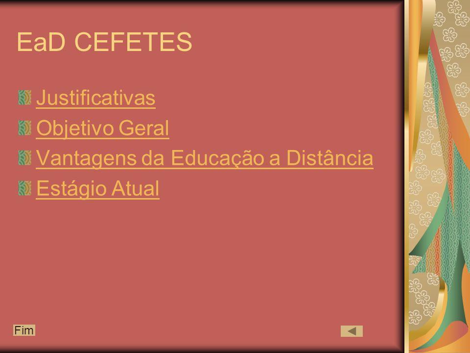 EaD CEFETES Justificativas Objetivo Geral Vantagens da Educação a Distância Estágio Atual Fim
