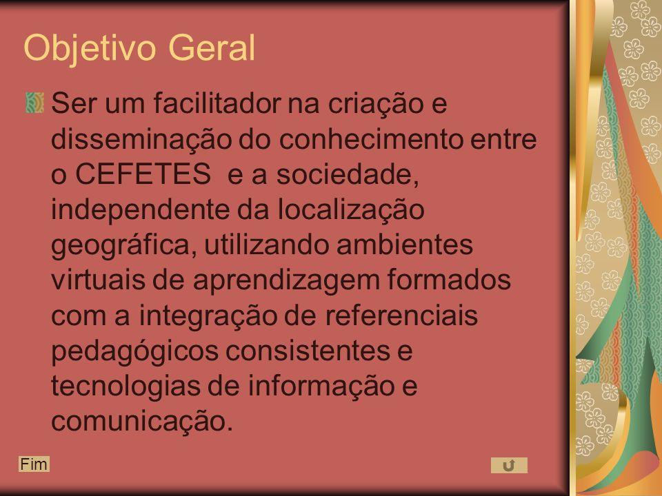 Objetivo Geral Ser um facilitador na criação e disseminação do conhecimento entre o CEFETES e a sociedade, independente da localização geográfica, utilizando ambientes virtuais de aprendizagem formados com a integração de referenciais pedagógicos consistentes e tecnologias de informação e comunicação.