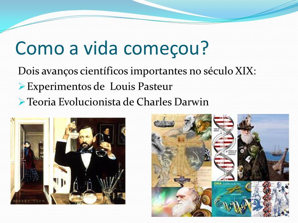 Como a vida começou? Dois avanços científicos importantes no século XIX: Experimentos de Louis Pasteur Teoria Evolucionista de Charles Darwin