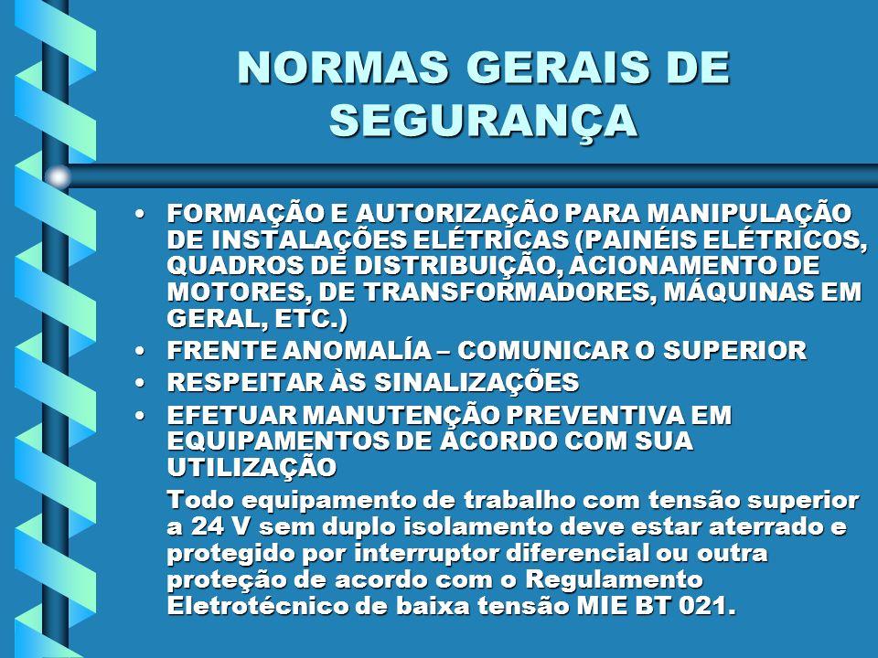 NORMAS GERAIS DE SEGURANÇA DESCONECTAR SEMPRE PEGANDO A TOMADA (SEMPRE HOMOLOGADA) DO CONECTOR E TIRANDO DELADESCONECTAR SEMPRE PEGANDO A TOMADA (SEMPRE HOMOLOGADA) DO CONECTOR E TIRANDO DELA EVITAR A PASSAGEM DE PESSOAS E EQUIPAMENTOS SOBRE EXTENSÕES OU CABOS ELÉTRICOSEVITAR A PASSAGEM DE PESSOAS E EQUIPAMENTOS SOBRE EXTENSÕES OU CABOS ELÉTRICOS Possibilita a deterioração do isolante do cabo condutor e provoca tropeços e quedas NÃO USAR FERRAMENTAS ELÉTRICAS COM AS MÃOS OU PÉS ÚMIDOS MOLHADOSNÃO USAR FERRAMENTAS ELÉTRICAS COM AS MÃOS OU PÉS ÚMIDOS MOLHADOS
