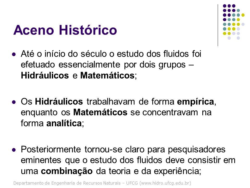 Departamento de Engenharia de Recursos Naturais – UFCG (www.hidro.ufcg.edu.br) Aceno Histórico Até o início do século o estudo dos fluidos foi efetuad