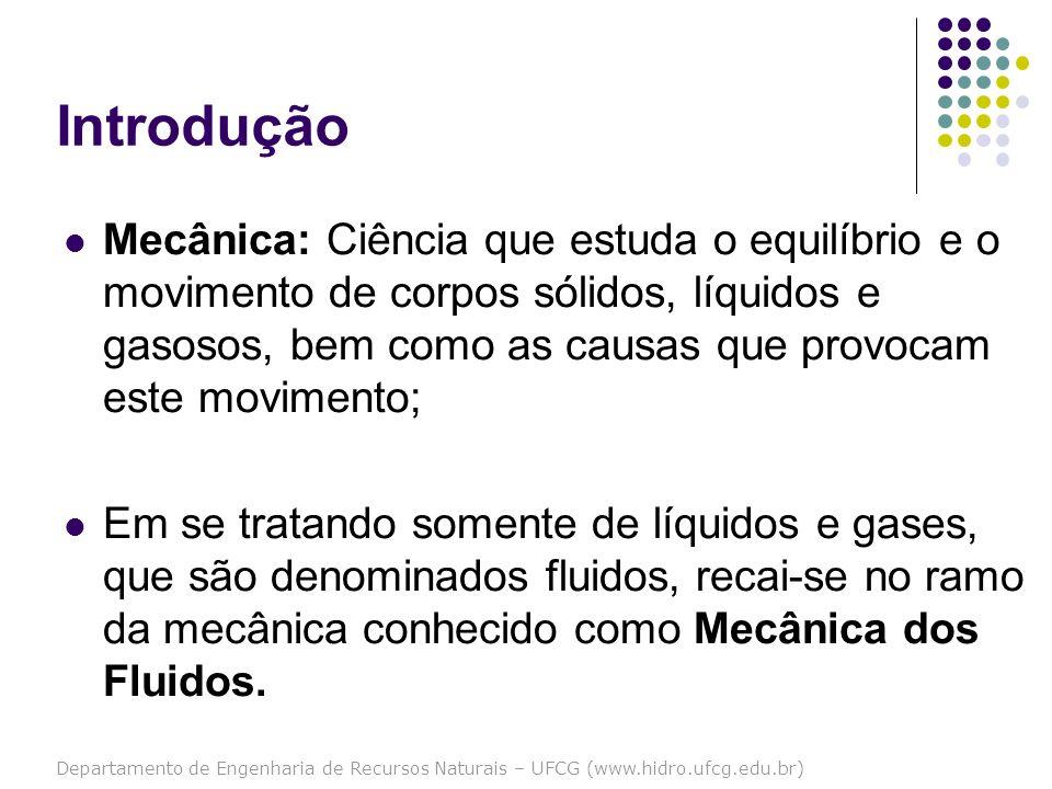 Departamento de Engenharia de Recursos Naturais – UFCG (www.hidro.ufcg.edu.br) Introdução Mecânica dos Fluidos: Ciência que trata do comportamento dos fluidos em repouso e em movimento.