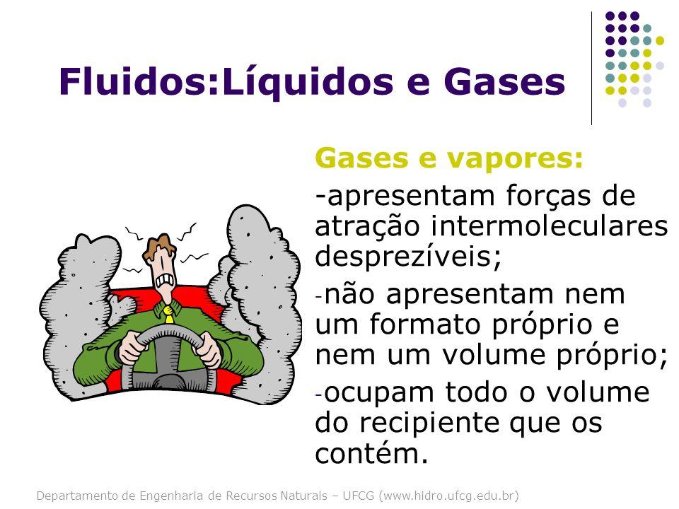 Departamento de Engenharia de Recursos Naturais – UFCG (www.hidro.ufcg.edu.br) Gases e vapores: -apresentam forças de atração intermoleculares desprez