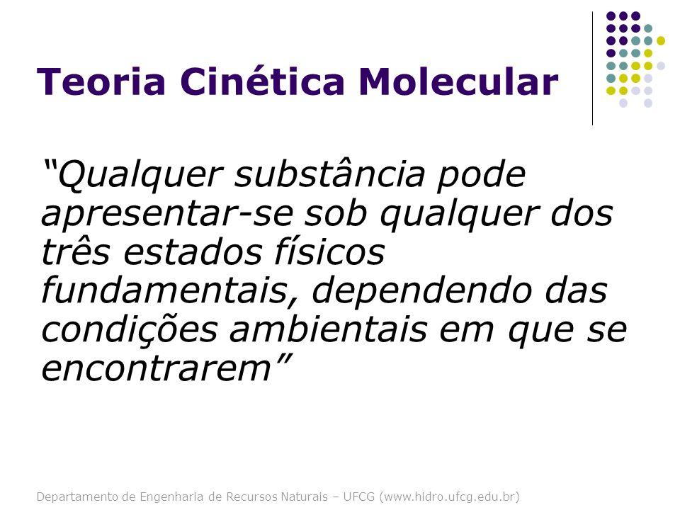 Departamento de Engenharia de Recursos Naturais – UFCG (www.hidro.ufcg.edu.br) Teoria Cinética Molecular Qualquer substância pode apresentar-se sob qu