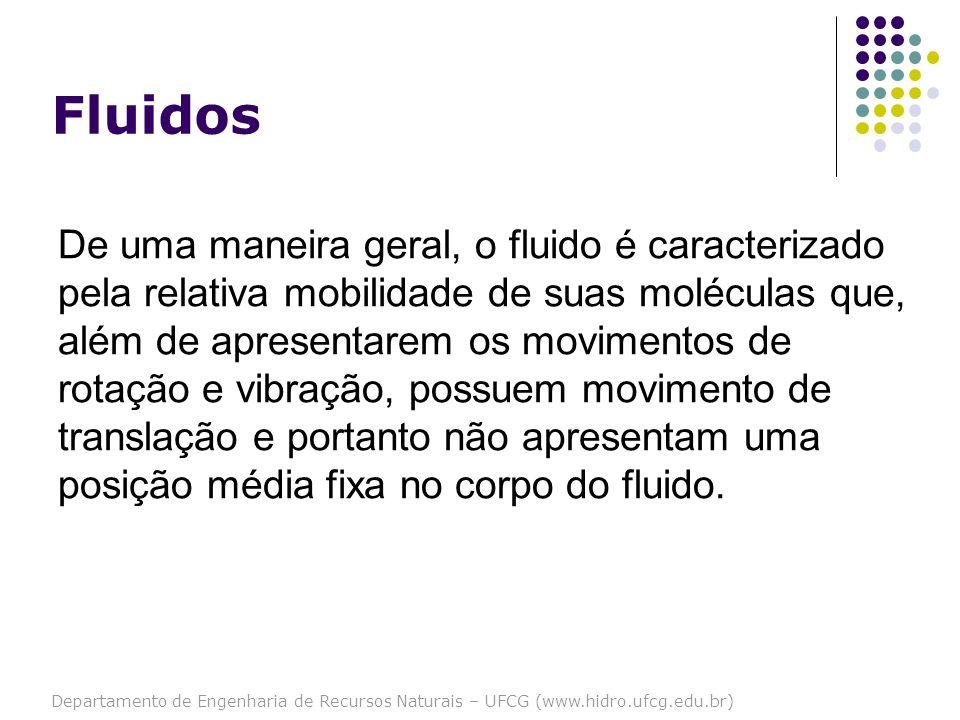 Departamento de Engenharia de Recursos Naturais – UFCG (www.hidro.ufcg.edu.br) Fluidos De uma maneira geral, o fluido é caracterizado pela relativa mo