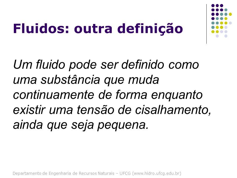 Departamento de Engenharia de Recursos Naturais – UFCG (www.hidro.ufcg.edu.br) Fluidos: outra definição Um fluido pode ser definido como uma substânci