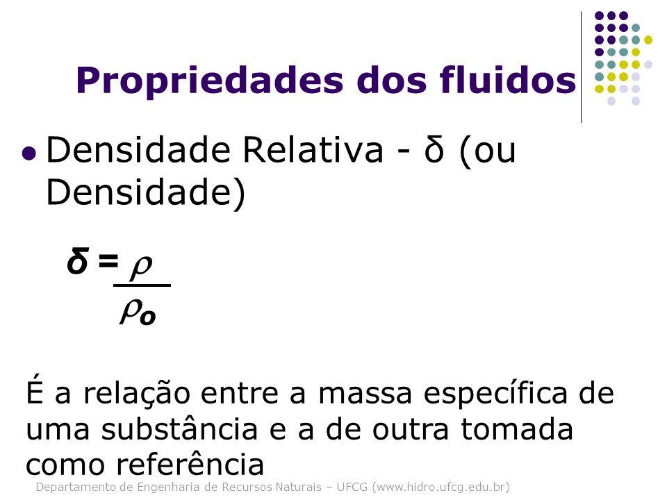 Departamento de Engenharia de Recursos Naturais – UFCG (www.hidro.ufcg.edu.br) Propriedades dos fluidos Densidade Relativa - δ (ou Densidade) É a rela