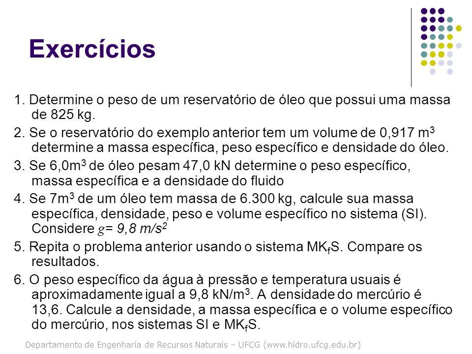 Departamento de Engenharia de Recursos Naturais – UFCG (www.hidro.ufcg.edu.br) Exercícios 1. Determine o peso de um reservatório de óleo que possui um