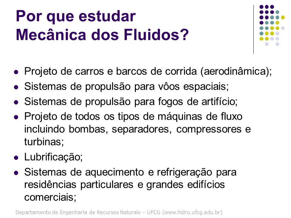 Departamento de Engenharia de Recursos Naturais – UFCG (www.hidro.ufcg.edu.br) Por que estudar Mecânica dos Fluidos? Projeto de carros e barcos de cor