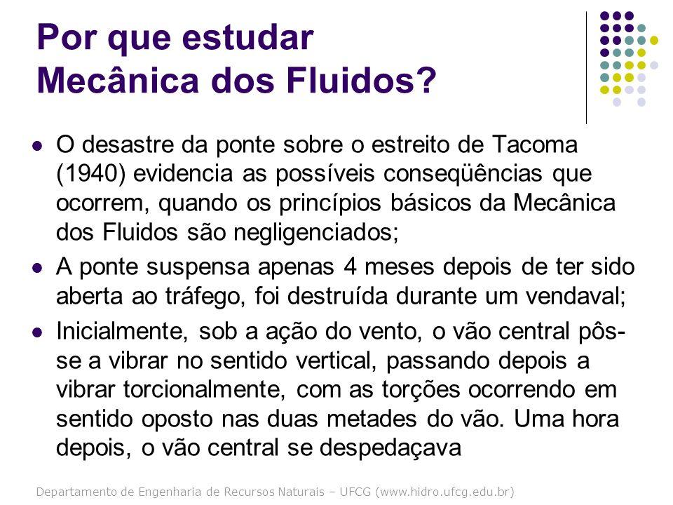 Departamento de Engenharia de Recursos Naturais – UFCG (www.hidro.ufcg.edu.br) Por que estudar Mecânica dos Fluidos? O desastre da ponte sobre o estre