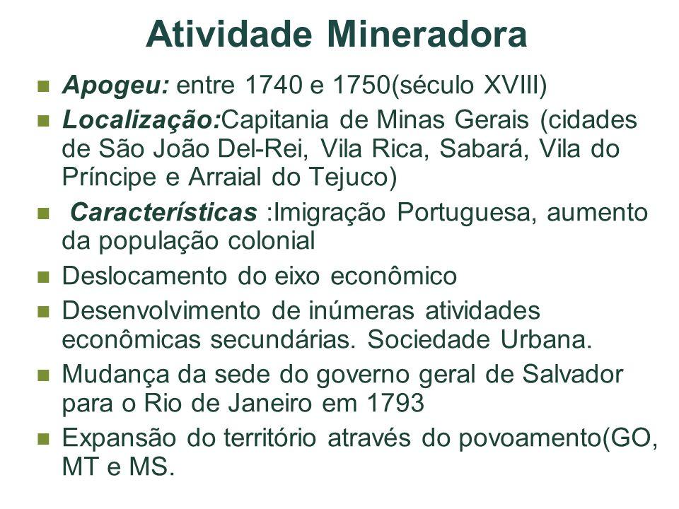 Atividade Mineradora Apogeu: entre 1740 e 1750(século XVIII) Localização:Capitania de Minas Gerais (cidades de São João Del-Rei, Vila Rica, Sabará, Vi