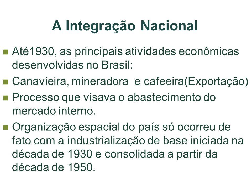 A Integração Nacional Até1930, as principais atividades econômicas desenvolvidas no Brasil: Canavieira, mineradora e cafeeira(Exportação) Processo que