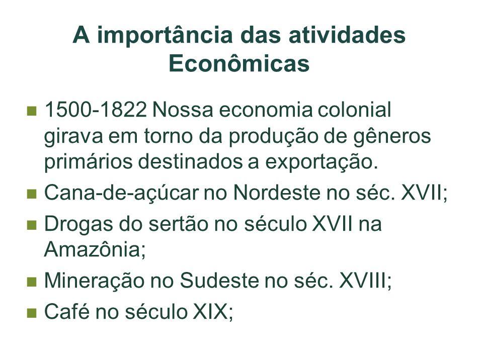 A importância das atividades Econômicas 1500-1822 Nossa economia colonial girava em torno da produção de gêneros primários destinados a exportação. Ca