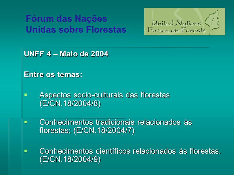 UNFF 4 – Maio de 2004 Entre os temas: Aspectos socio-culturais das florestas (E/CN.18/2004/8) Aspectos socio-culturais das florestas (E/CN.18/2004/8)