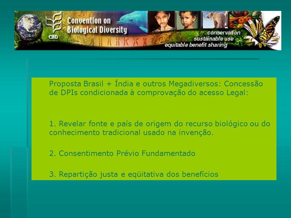 Proposta Brasil + Índia e outros Megadiversos: Concessão de DPIs condicionada à comprovação do acesso Legal: 1. Revelar fonte e país de origem do recu