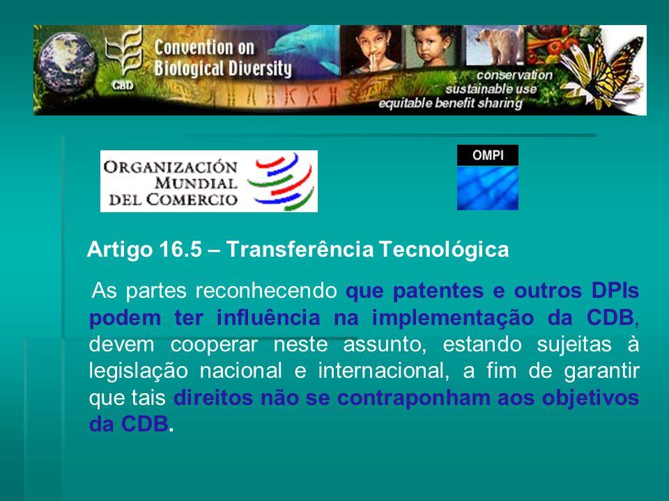 Artigo 16.5 – Transferência Tecnológica As partes reconhecendo que patentes e outros DPIs podem ter influência na implementação da CDB, devem cooperar