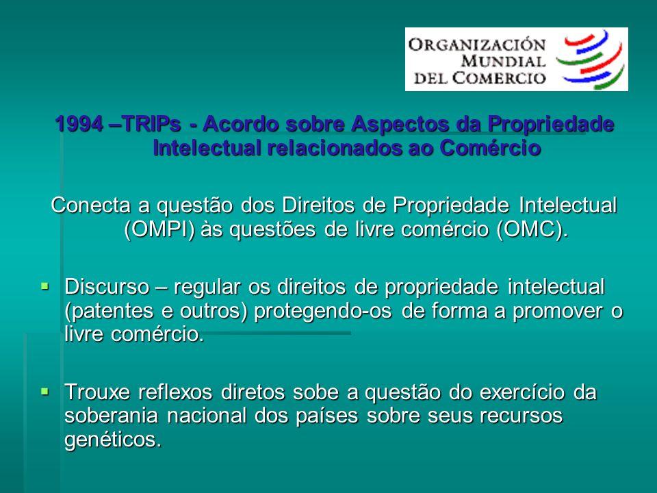 1994 –TRIPs - Acordo sobre Aspectos da Propriedade Intelectual relacionados ao Comércio Conecta a questão dos Direitos de Propriedade Intelectual (OMP