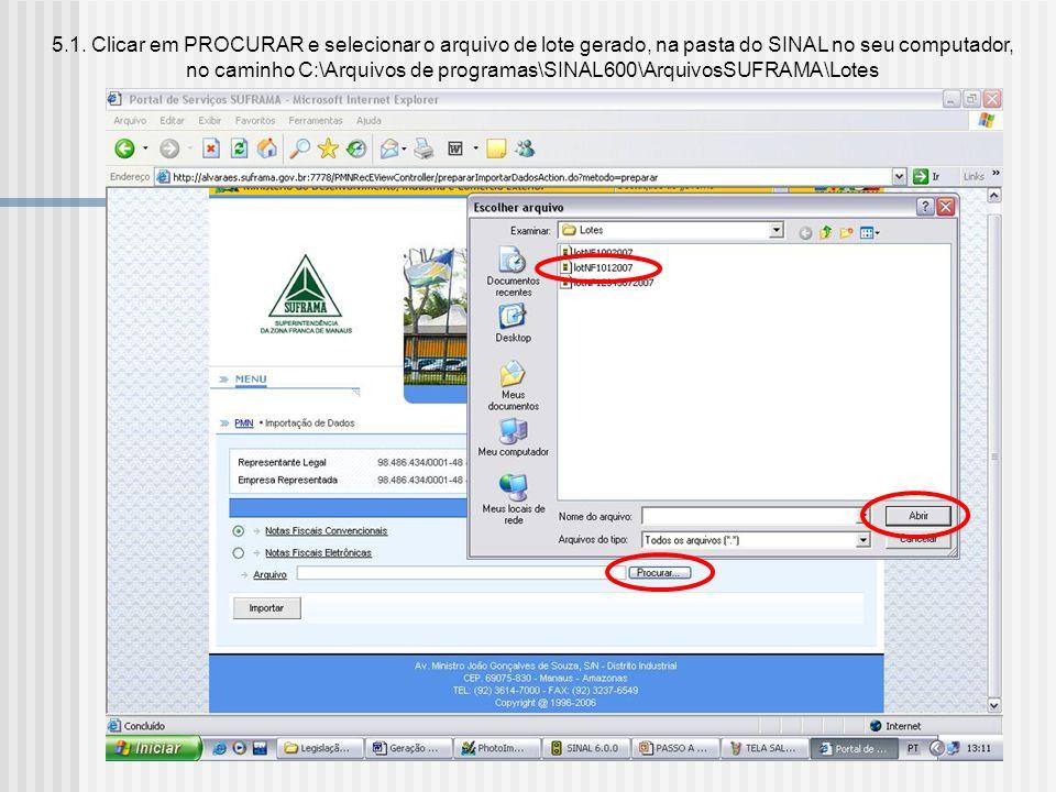 5. Após gerar o arquivo.xml no SINAL 6.0, acessar o link IMPORTAR DADOS, no WS SINAL: