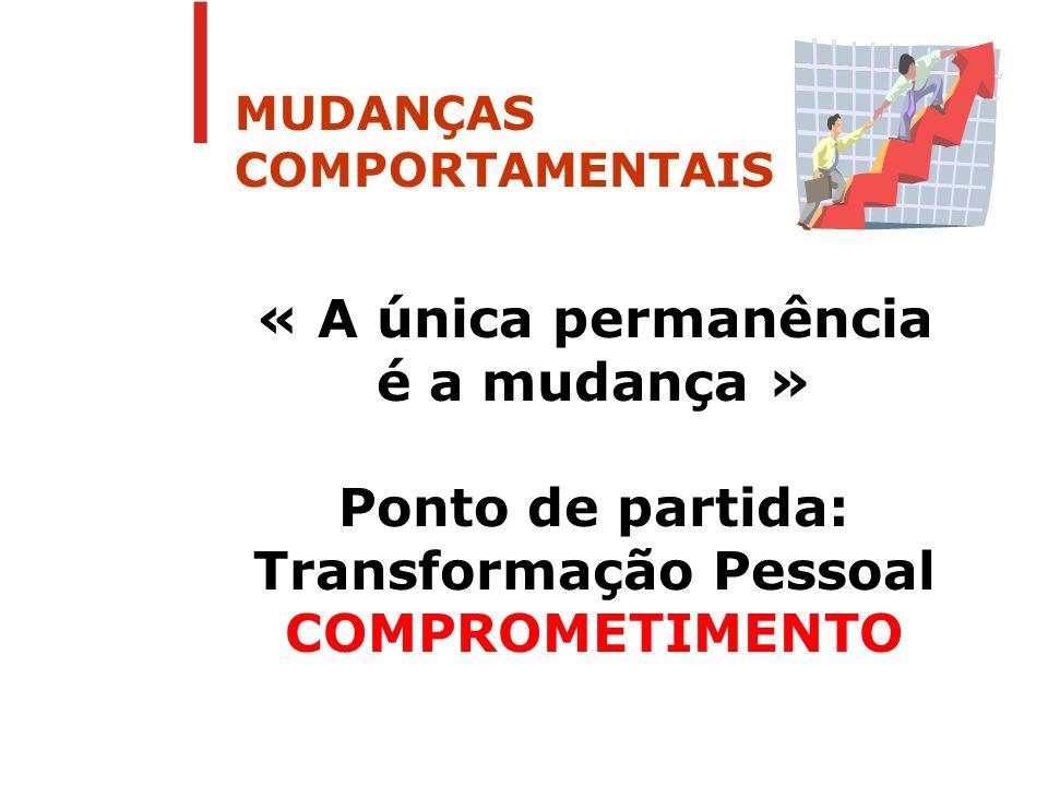 MUDANÇAS COMPORTAMENTAIS « A única permanência é a mudança » Ponto de partida: Transformação Pessoal COMPROMETIMENTO