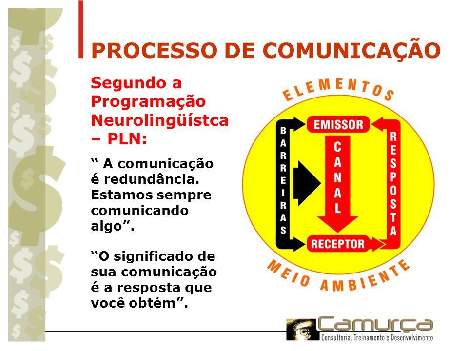 PROCESSO DE COMUNICAÇÃO Segundo a Programação Neurolingüístca – PLN: A comunicação é redundância. Estamos sempre comunicando algo. O significado de su