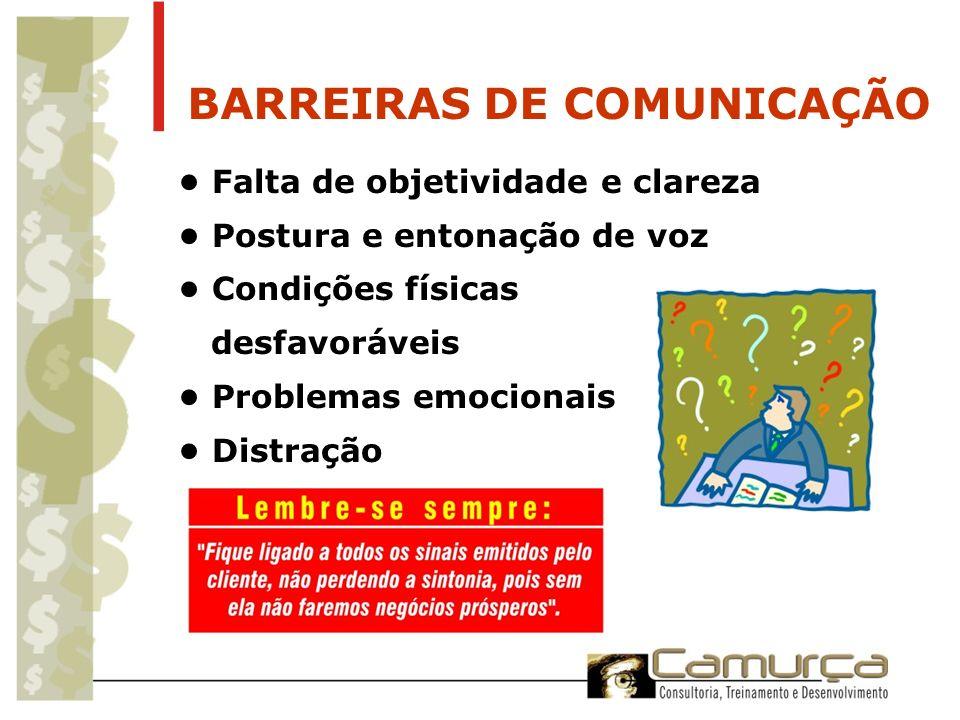 BARREIRAS DE COMUNICAÇÃO Falta de objetividade e clareza Postura e entonação de voz Condições físicas desfavoráveis Problemas emocionais Distração