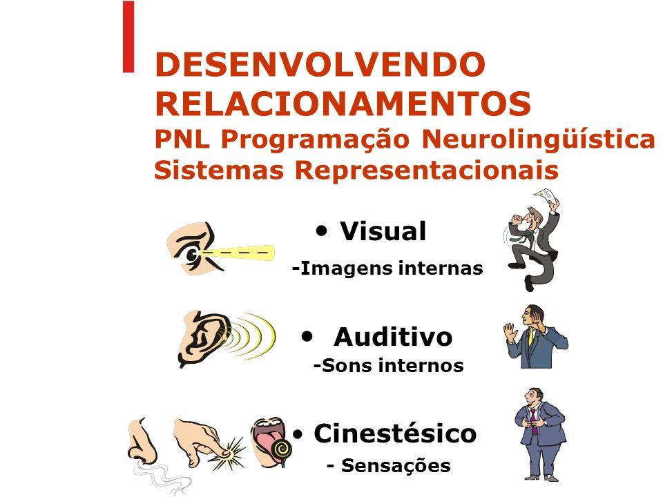 Visual -Imagens internas Auditivo -Sons internos Cinestésico - Sensações DESENVOLVENDO RELACIONAMENTOS PNL Programação Neurolingüística Sistemas Repre