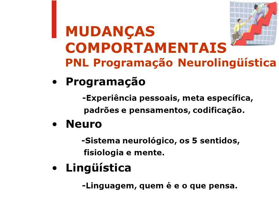 MUDANÇAS COMPORTAMENTAIS PNL Programação Neurolingüística Posições Perceptivas 1 ª Posição Associação 2 a Posição Associação 3 a Posição Dissociação