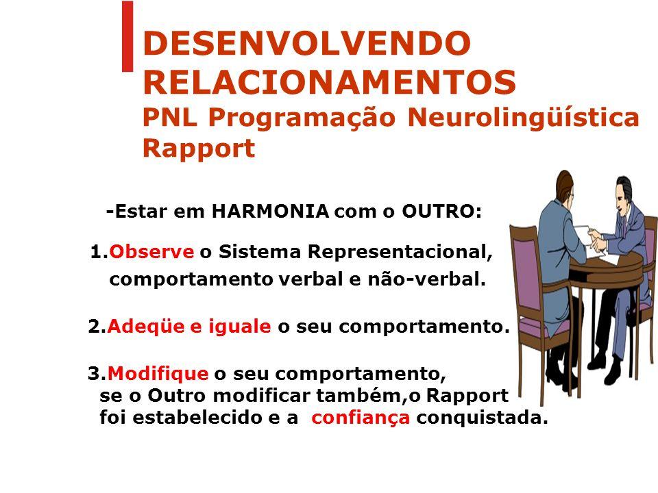 -Estar em HARMONIA com o OUTRO: 1.Observe o Sistema Representacional, comportamento verbal e não-verbal. 2.Adeqüe e iguale o seu comportamento. 3.Modi
