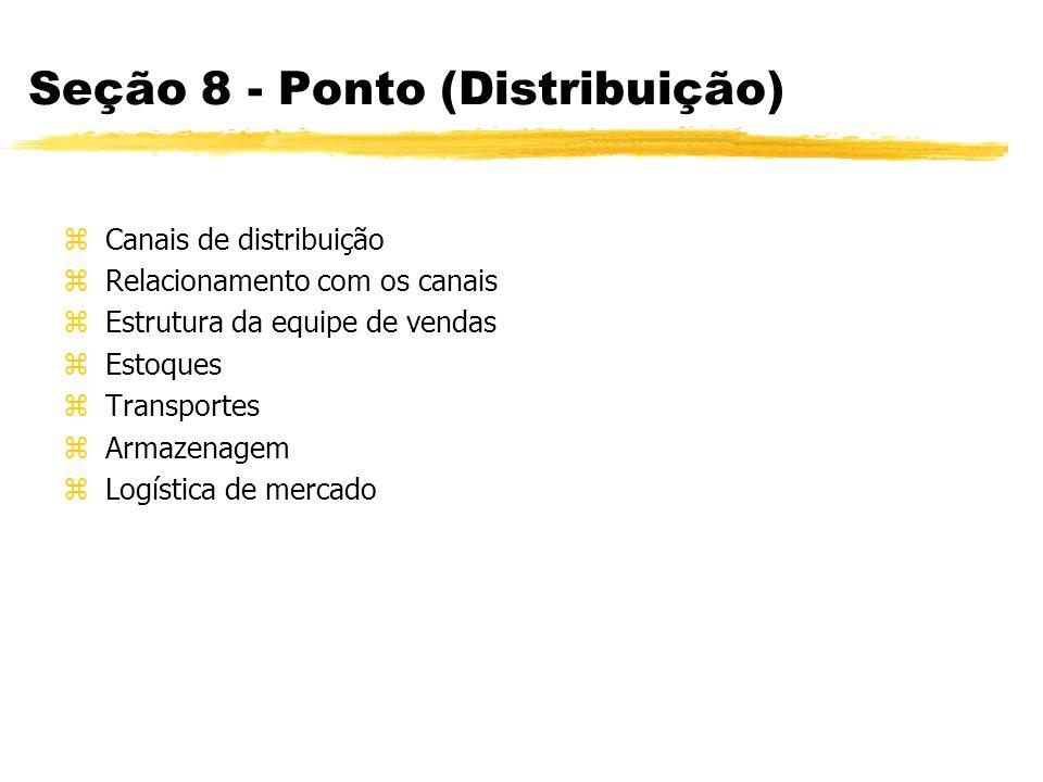 Seção 9 - Preço zPreço ao consumidor zPreços comparados à concorrência zPreços aos intermediários zMargens dos intermediários zCondições de pagamento zFinanciamento zEstrutura de preço zEstrutura de custo