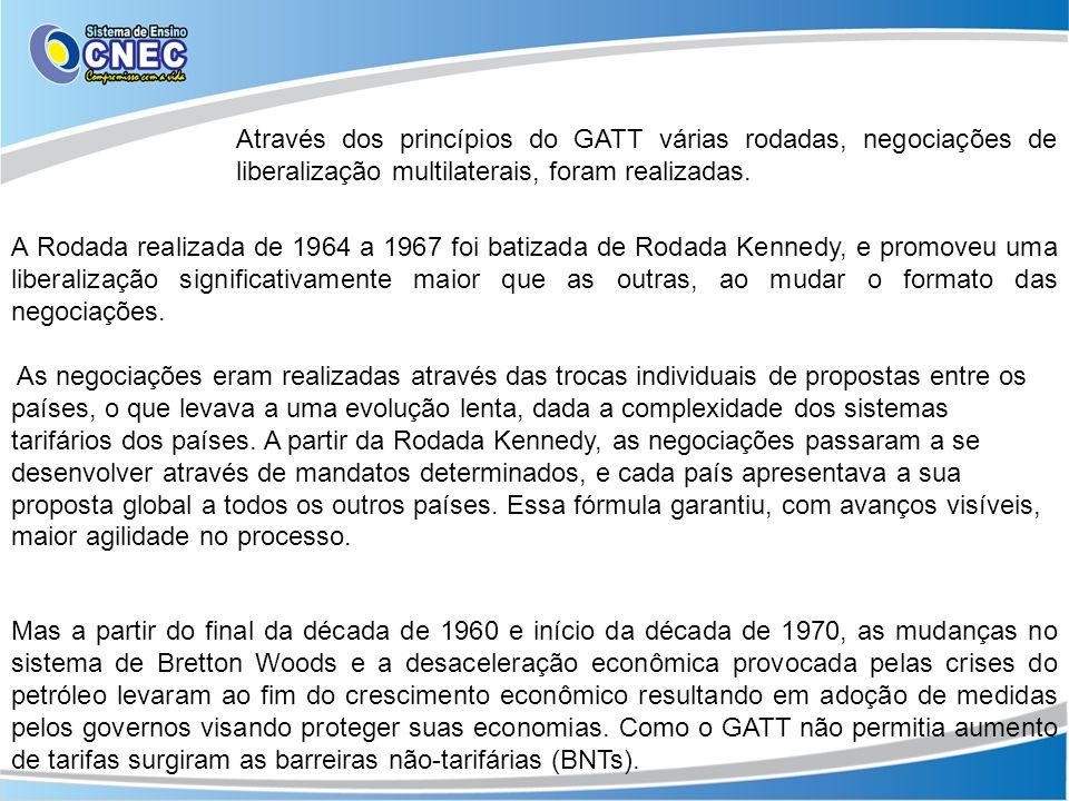 Através dos princípios do GATT várias rodadas, negociações de liberalização multilaterais, foram realizadas. A Rodada realizada de 1964 a 1967 foi bat