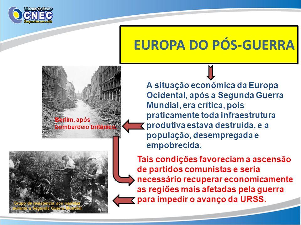 EUROPA DO PÓS-GUERRA A situação econômica da Europa Ocidental, após a Segunda Guerra Mundial, era crítica, pois praticamente toda infraestrutura produ