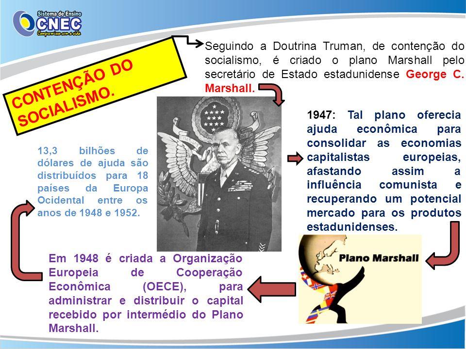 Seguindo a Doutrina Truman, de contenção do socialismo, é criado o plano Marshall pelo secretário de Estado estadunidense George C. Marshall. CONTENÇÃ