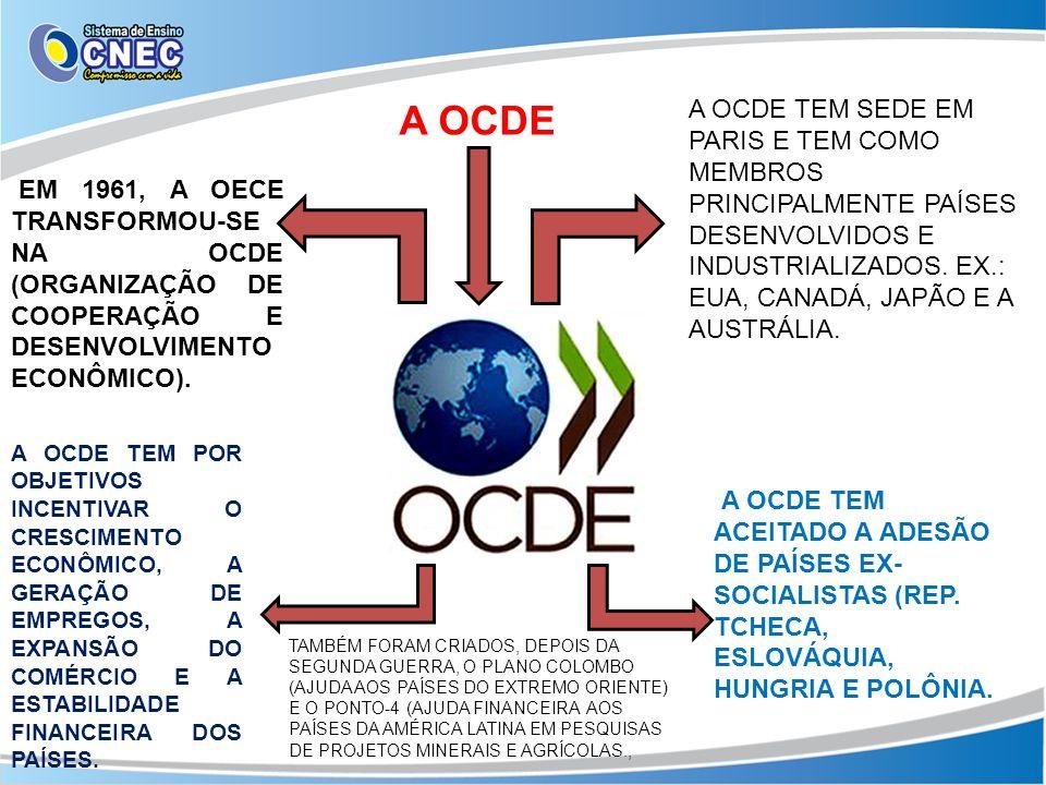 A OCDE EM 1961, A OECE TRANSFORMOU-SE NA OCDE (ORGANIZAÇÃO DE COOPERAÇÃO E DESENVOLVIMENTO ECONÔMICO). A OCDE TEM POR OBJETIVOS INCENTIVAR O CRESCIMEN