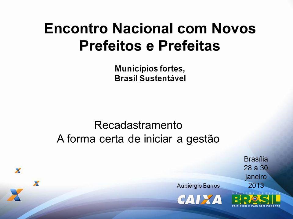 Encontro Nacional com Novos Prefeitos e Prefeitas Municípios fortes, Brasil Sustentável Brasília 28 a 30 janeiro 2013 Aubiérgio Barros Recadastramento