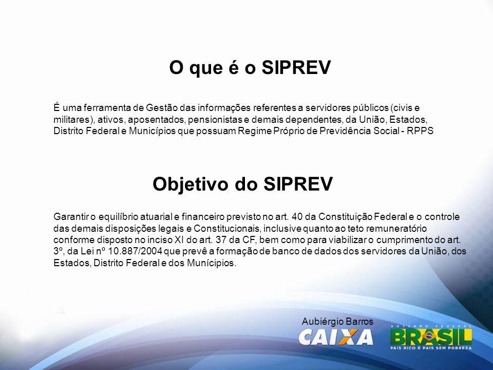 Aubiérgio Barros O que é o SIPREV É uma ferramenta de Gestão das informações referentes a servidores públicos (civis e militares), ativos, aposentados