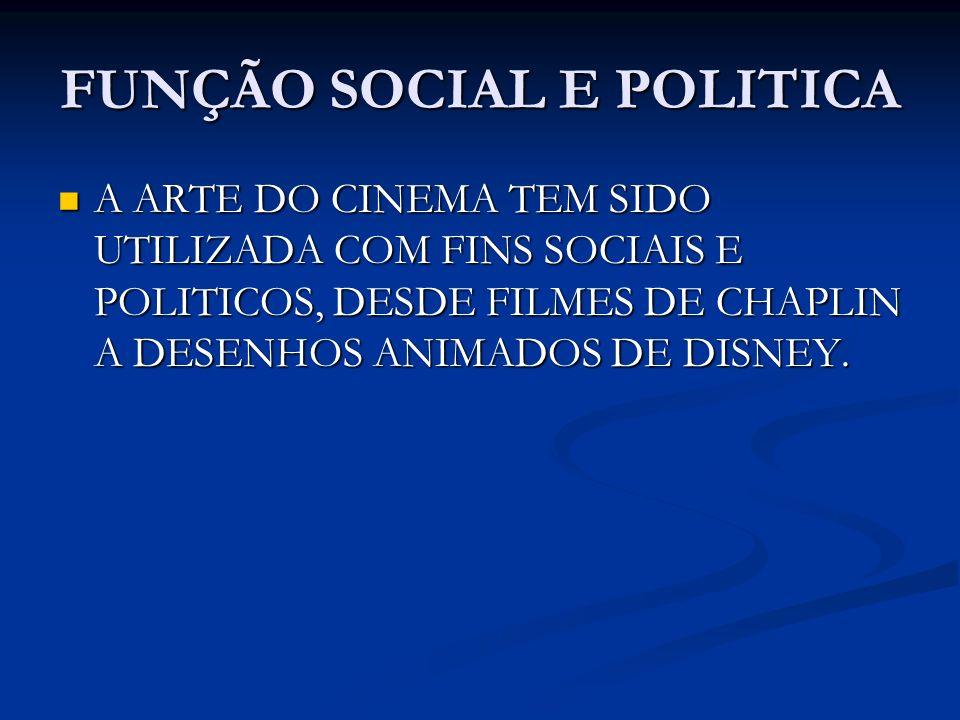 FUNÇÃO SOCIAL E POLITICA A ARTE DO CINEMA TEM SIDO UTILIZADA COM FINS SOCIAIS E POLITICOS, DESDE FILMES DE CHAPLIN A DESENHOS ANIMADOS DE DISNEY. A AR